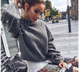 Pullovers Bead Lantern Sleeve Knitted Sweater