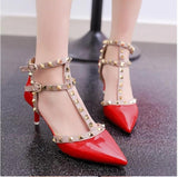 High-heeled Pointed toe Buckle Strap Rivet Heel