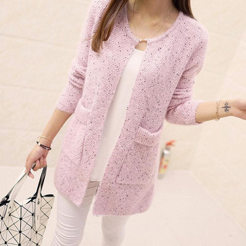 Long Sleeve Crochet Cardigan Knitted Sweater