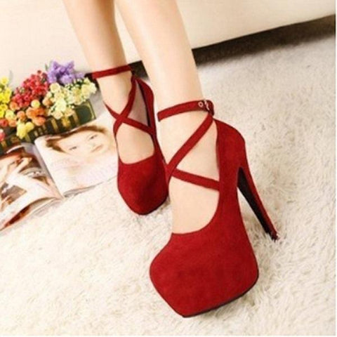 Super High Thin T-strap Buckle Strap Retro Round Toe Pumps Heel
