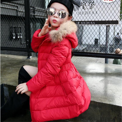 Cute Fur Hooded Thick Cotton Warm Solid Kid Parka