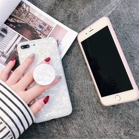 New Marble Silicone Case Protective Bumper With Ring Holder