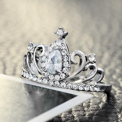 Crystal Crown Engagement Princess Ring