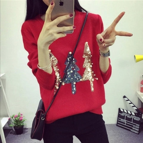 Happy Christmas O-neck Sequined Christmas Tree Long Sleeve Knit Pullovers Sweater