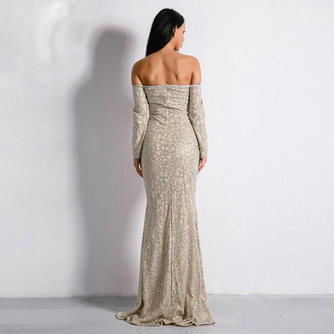 New Bra Off Shoulder Backless Glitter Party Elegant Dress