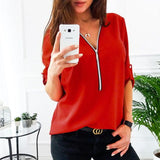 Zipper Short Sleeve V Neck Solid Casual Shirts