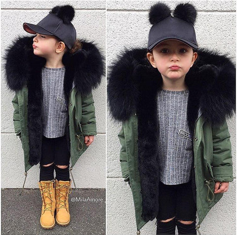 Toddler Super Big Fox Fur Zipper Parka