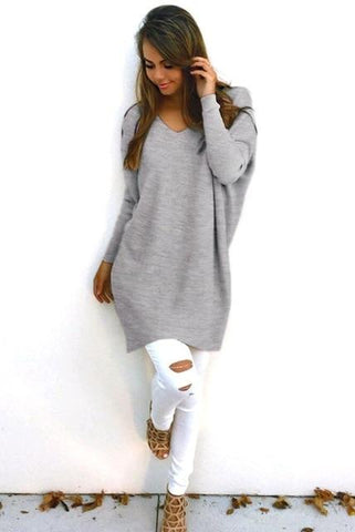 Sexy Round Neck Pullover Knit Sweater Long Sleeves
