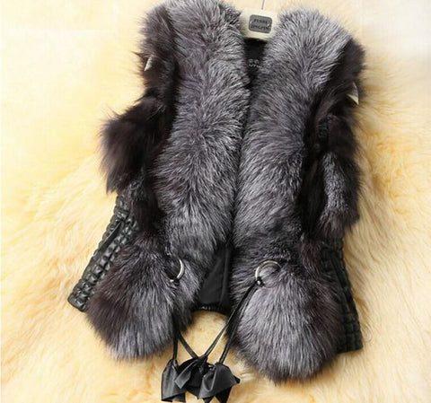 Leather Vest Outerwear Plus Size Faux Fur Jackets