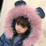 Velvet Long Snowsuit cotton Pad Fur Collar Hood