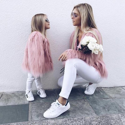 Mother and Daughter Shaggy Faux Fur Coat
