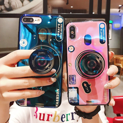 HOT New Luxury Shiny Camera Kickstand Silicone Case