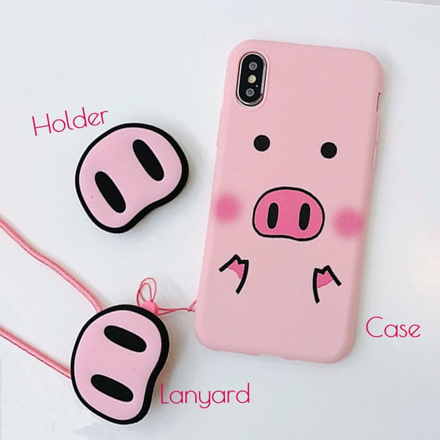 sale retailer 8d798 d120b Cute Pink Silicone Phone Stand Holder Cover Pig Lanyard