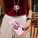 "Cute Pink Silicone Phone Stand Holder Cover Pig Lanyard "" Limited Stock"""
