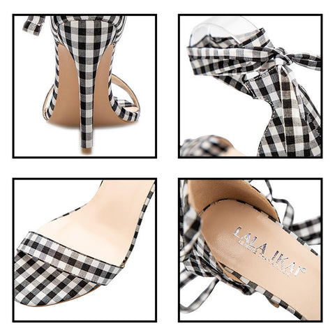 Scottish Plaid High Cross-Tied Ankle Strap Lace Up Party Bow High Heel