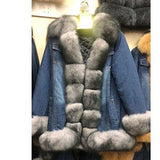 Denim Real Fur Thick Warm Fur Parka