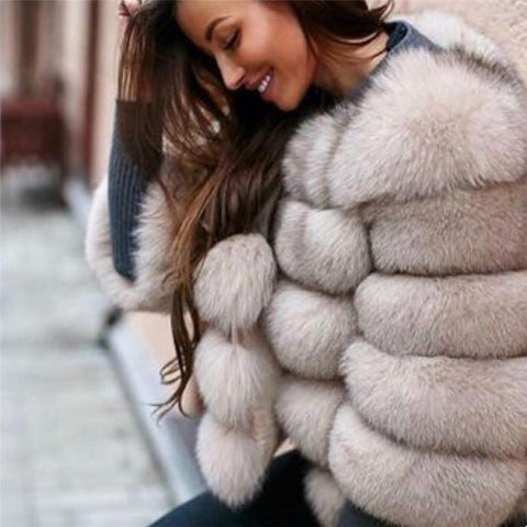 Real Fox Natural Fur Jacket Outerwear Overcoat