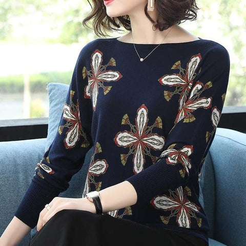 Winter Printed sweater pullover long sleeve elastic knitted top sweater