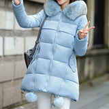 Faux Fur Collar Long Coat Cotton Padded Warm Hooded thick Wadded Coat