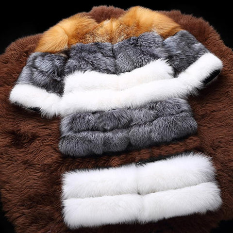 Natural Real Fox Fur Detachable Thick Genuine Fox Fur Jacket