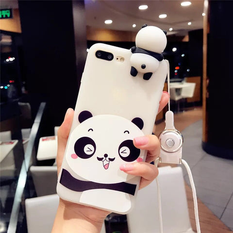 Cute 3D Panda Case  Lovely Cartoon Lanyard Silicone Mobile Phone Case
