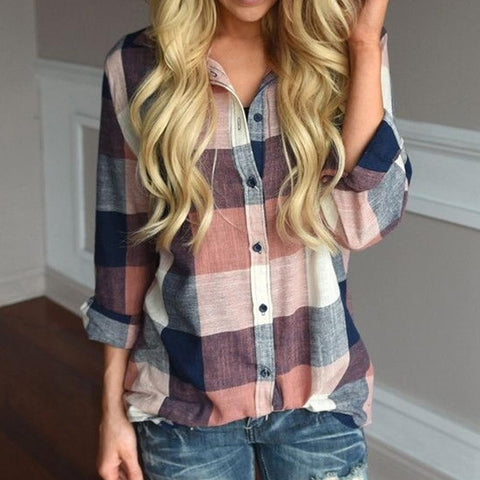 Long Sleeve Button Loose Plaid Shirt Top