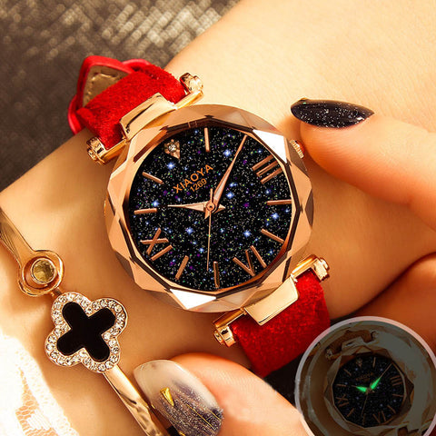 Luxury Starry Sky Wrist Watch Leather Rhinestone Designer Watch