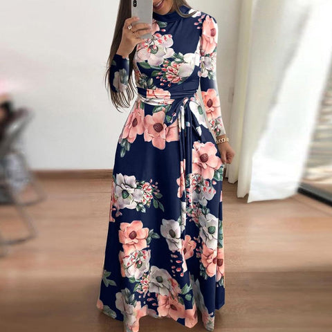 Floral Printed Long Sleeve Belted Autumn Maxi Dress