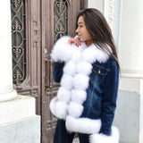 Denim Natural Fox Fur Thick Warm Parka
