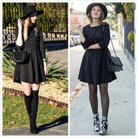 Pearl Embellished Zip Fit & Flare Women Black 3/4 Sleeve Skater Dress