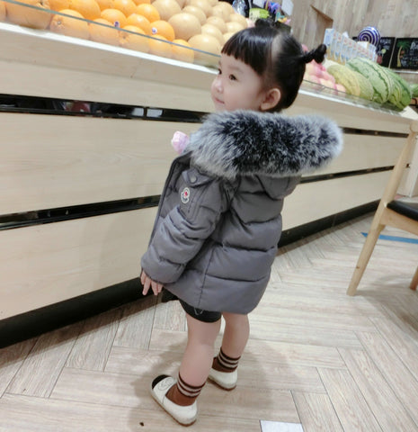Winter Warm Real Fur Hooded Jackets for Boy Girl Outerwear
