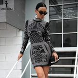 Sexy High Neck Long Sleeve Elegant Party Dress