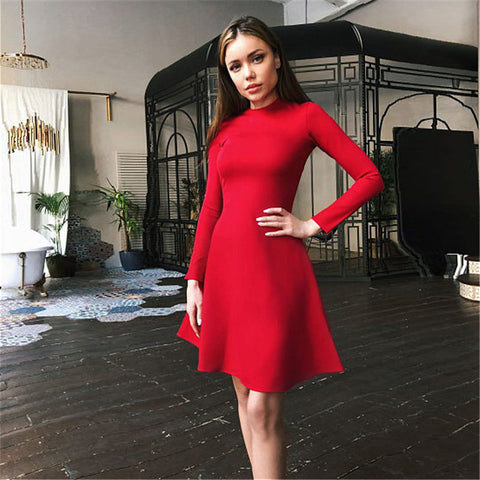 Elegant Above Knee With Long Sleeve Winter Slimming Temperament Quality Mini Dress