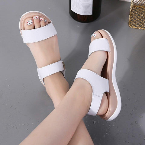 Beige Flat Breathable Leather Casual Hook Loop Flat Sandal
