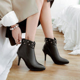 Winter Ankle High Heel Flower Pointed Toe Short Boot
