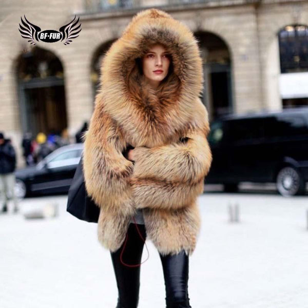 Real Red Fox Fur Genuine Leather Whole Skin Casual Warm With Hood