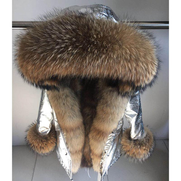 Real Warm Fox Fur Liner Natural Raccoon Collar Coat