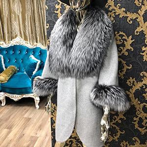 Natural Real Fur Woolen Fur Coat With Thick Fox Fur Collar
