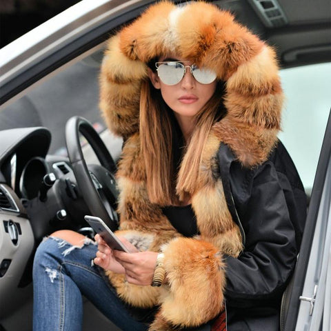 Natural Large Fox Fur Collar With Luxury Fur Liner Outwear Real Fur Parka