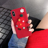 Santa Claus Warm Fur Ball Case Plush 3D Christmas tree Phone Case