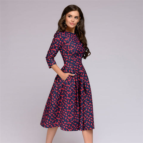 Fall Printing With Pockets Three Quarter Vintage Dress