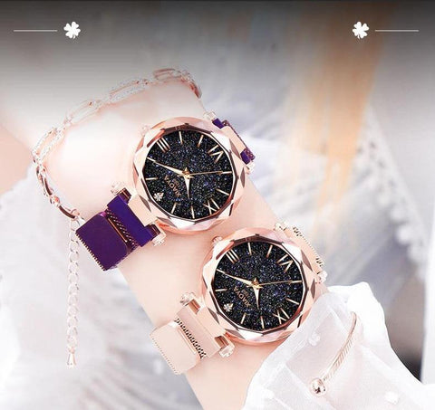 Luxury Gold Starry Sky Wristwatches Mesh Magnetic Strap Waterproof Quartz Watch