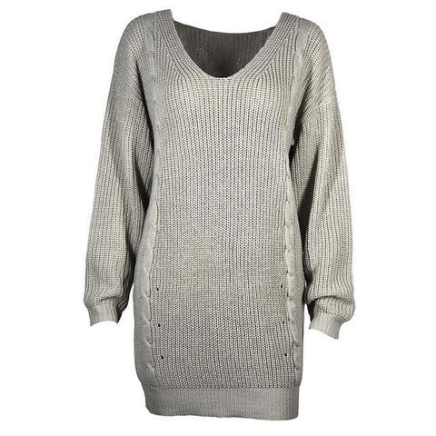Sexy Long Lady's V Neck Grey Winter Knitted Jumper