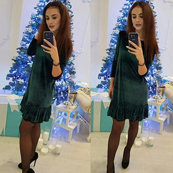 Winter Velvet warm O-neck 3/4 Sleeve Ruffle Loose Party dress