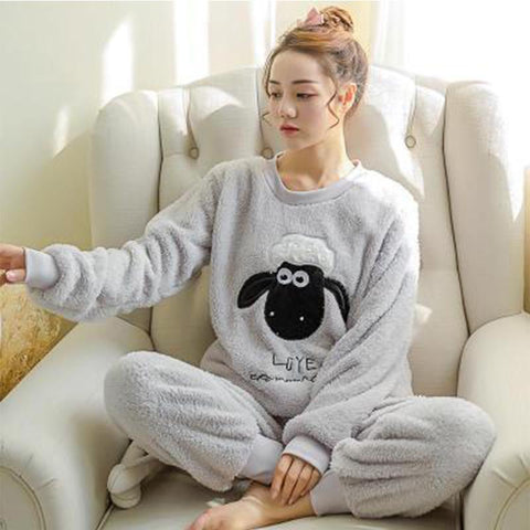 Cute Flannel Sheep Winter Warm Sleepwear Suit Unisex