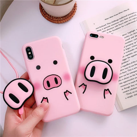 "Cute Pink Silicone Phone Stand Holder Cover Pig Lanyard "" Limited Stock"" IPhone & Samsung Lovers"