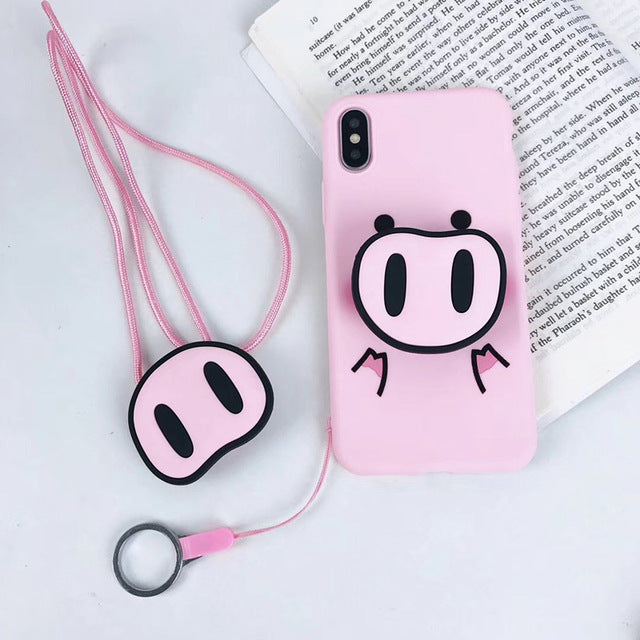 finest selection 9e21f 78af2 Cute Pink Silicone Phone Stand Holder Cover Pig Lanyard