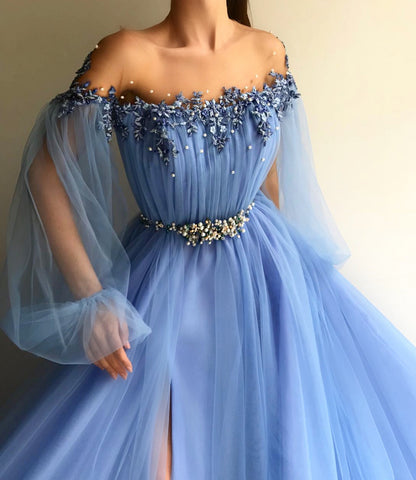 Gorgeous Sky Blue Long sleeves Beaded Lace Appliques Side Slit Gown Prom Dress