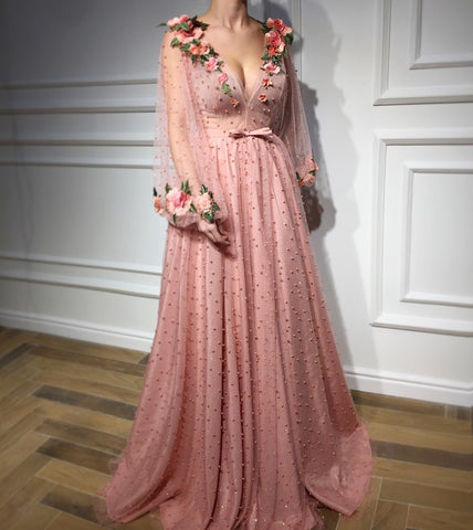 Gorgeous Pink Long sleeves Pearls Flowers Sexy V-Neck Prom Dress