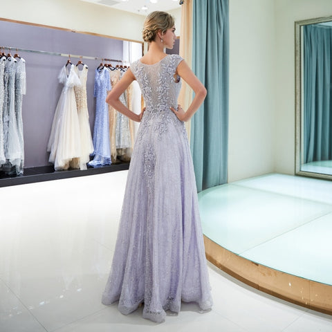 Elegant Light Purple Beading Sequined Lace Appliques Long Prom Dress